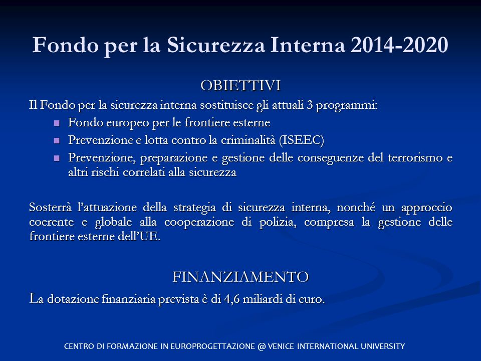 Fondo per la Sicurezza Interna 2014-2020