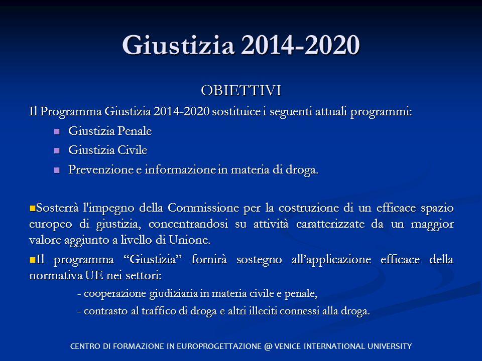 Giustizia 2014-2020 OBIETTIVI. Il Programma Giustizia 2014-2020 sostituice i seguenti attuali programmi: