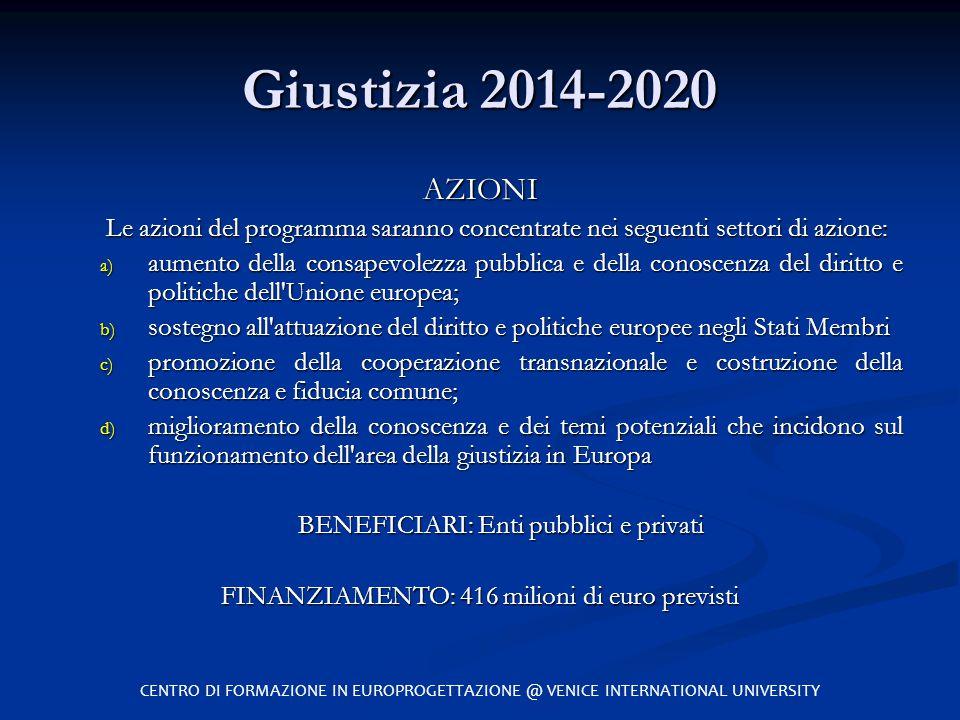 Giustizia 2014-2020 AZIONI. Le azioni del programma saranno concentrate nei seguenti settori di azione:
