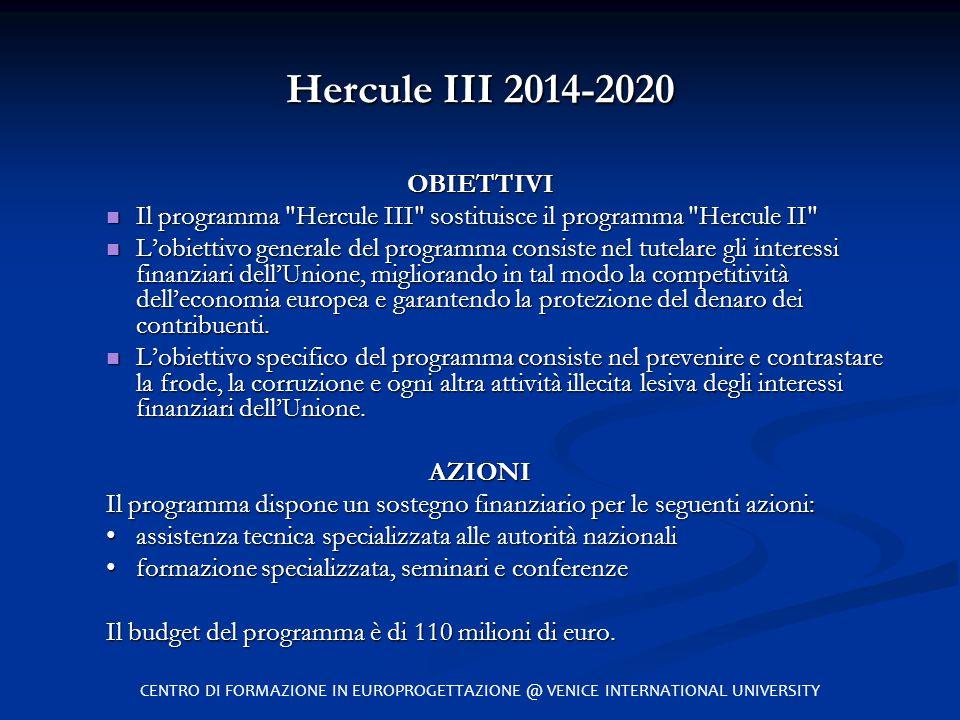 Hercule III 2014-2020 OBIETTIVI