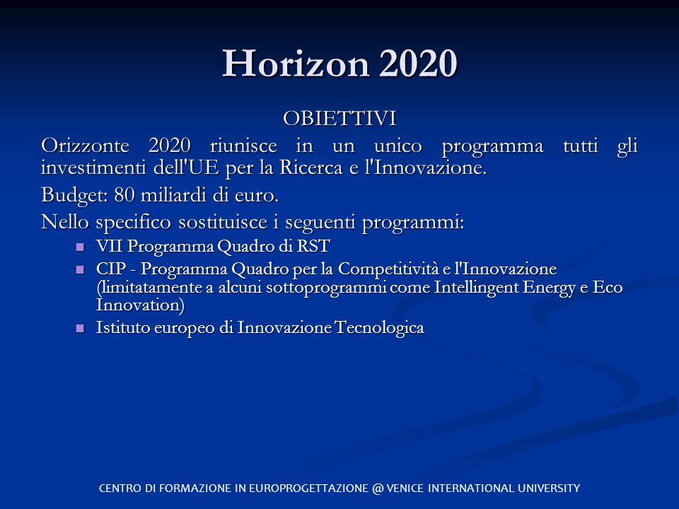 Horizon 2020 OBIETTIVI. Orizzonte 2020 riunisce in un unico programma tutti gli investimenti dell UE per la Ricerca e l Innovazione.