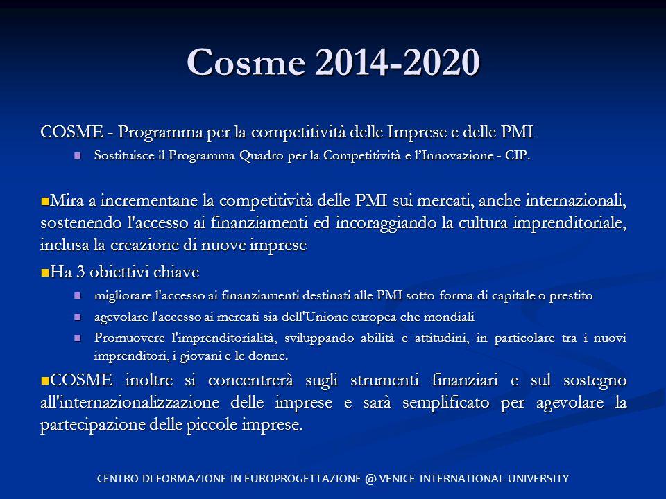 Cosme 2014-2020 COSME - Programma per la competitività delle Imprese e delle PMI.