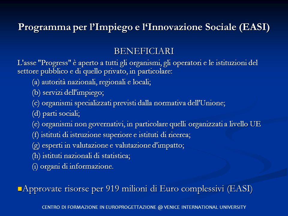Programma per l'Impiego e l'Innovazione Sociale (EASI)