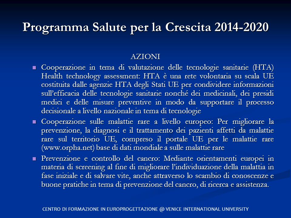 Programma Salute per la Crescita 2014-2020