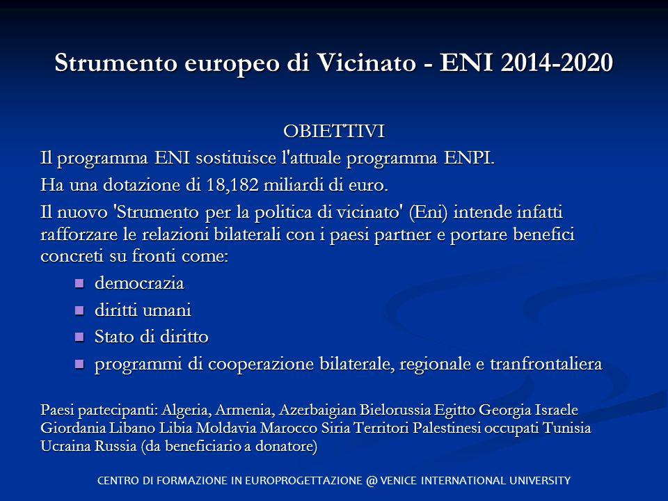 Strumento europeo di Vicinato - ENI 2014-2020