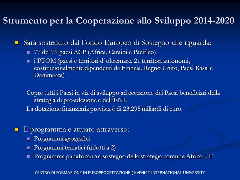 Strumento per la Cooperazione allo Sviluppo 2014-2020