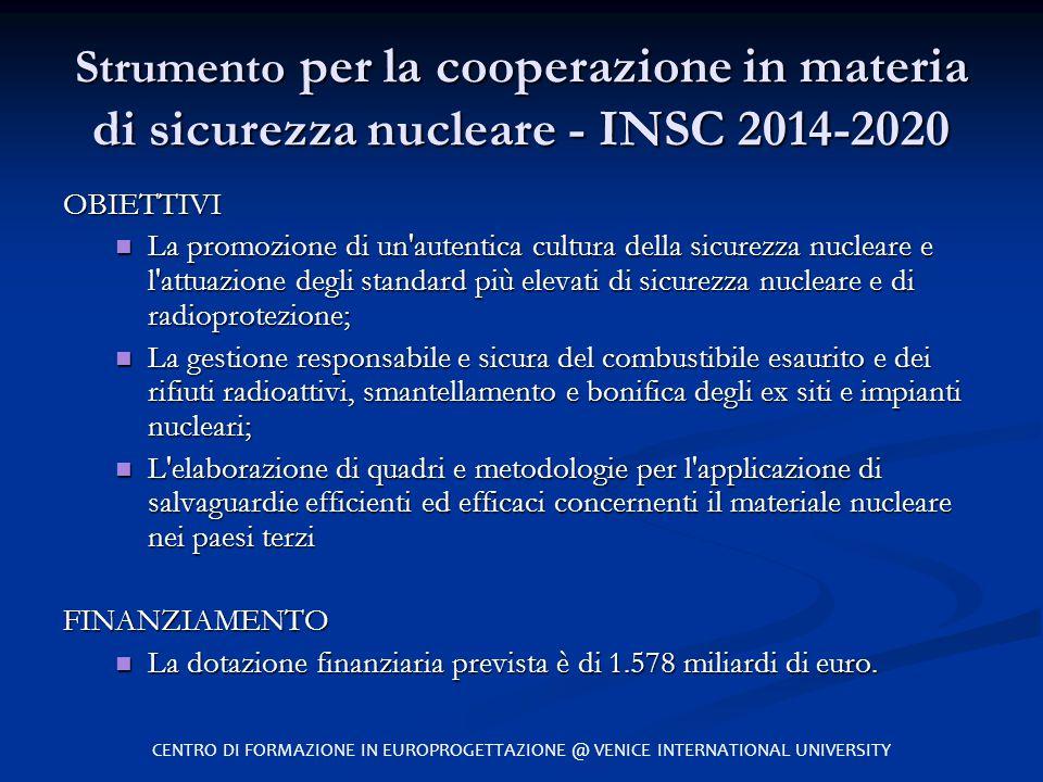 Strumento per la cooperazione in materia di sicurezza nucleare - INSC 2014-2020