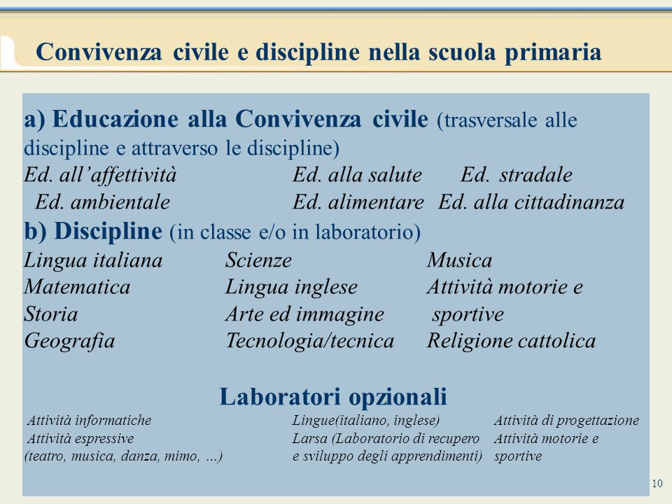 Convivenza civile e discipline nella scuola primaria