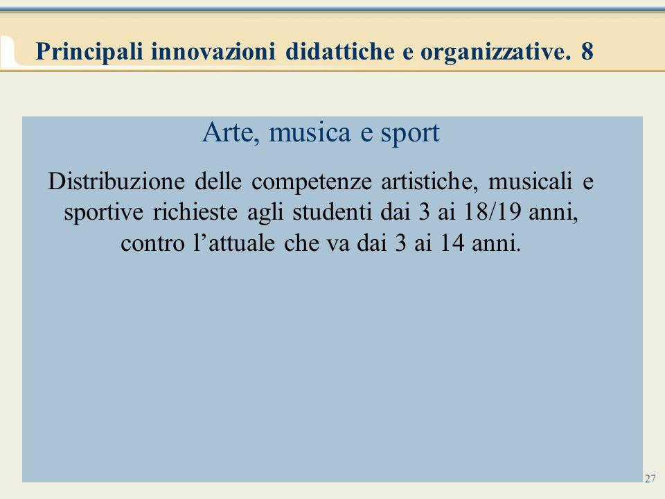 Principali innovazioni didattiche e organizzative. 8