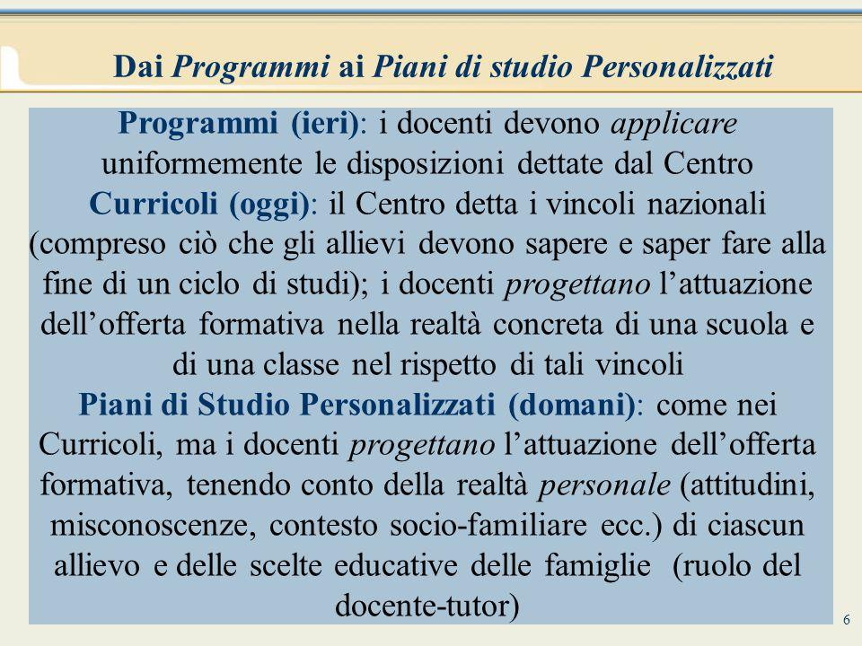 Dai Programmi ai Piani di studio Personalizzati