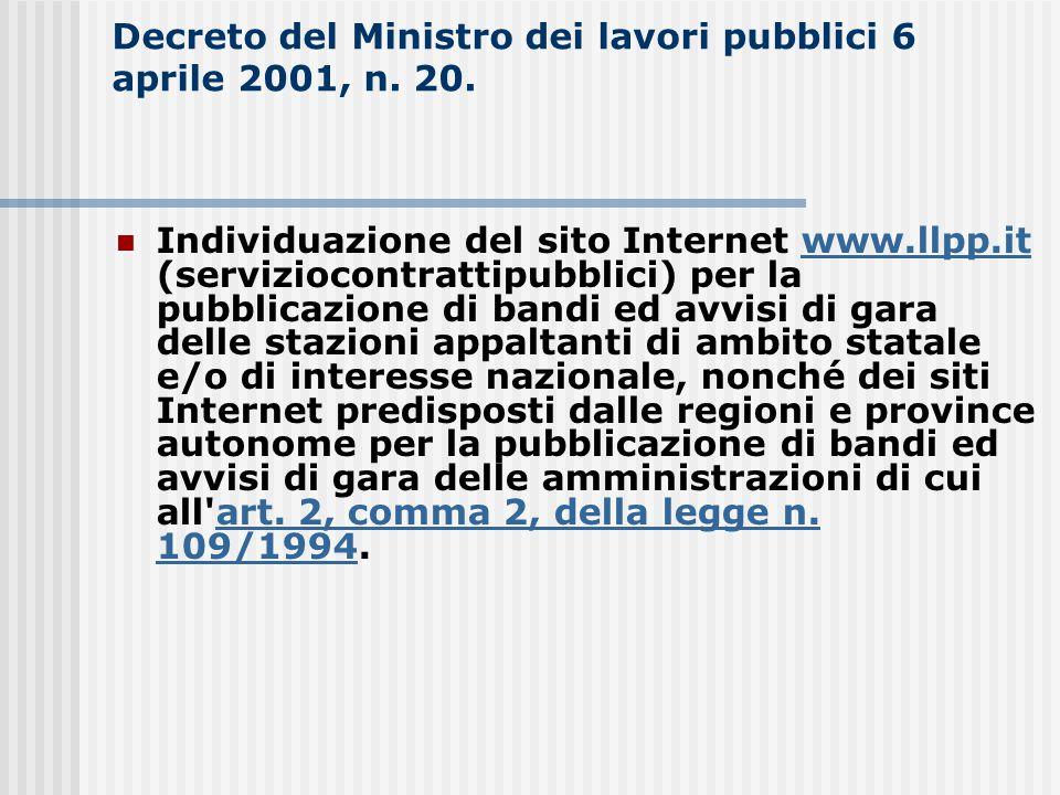 Decreto del Ministro dei lavori pubblici 6 aprile 2001, n. 20.