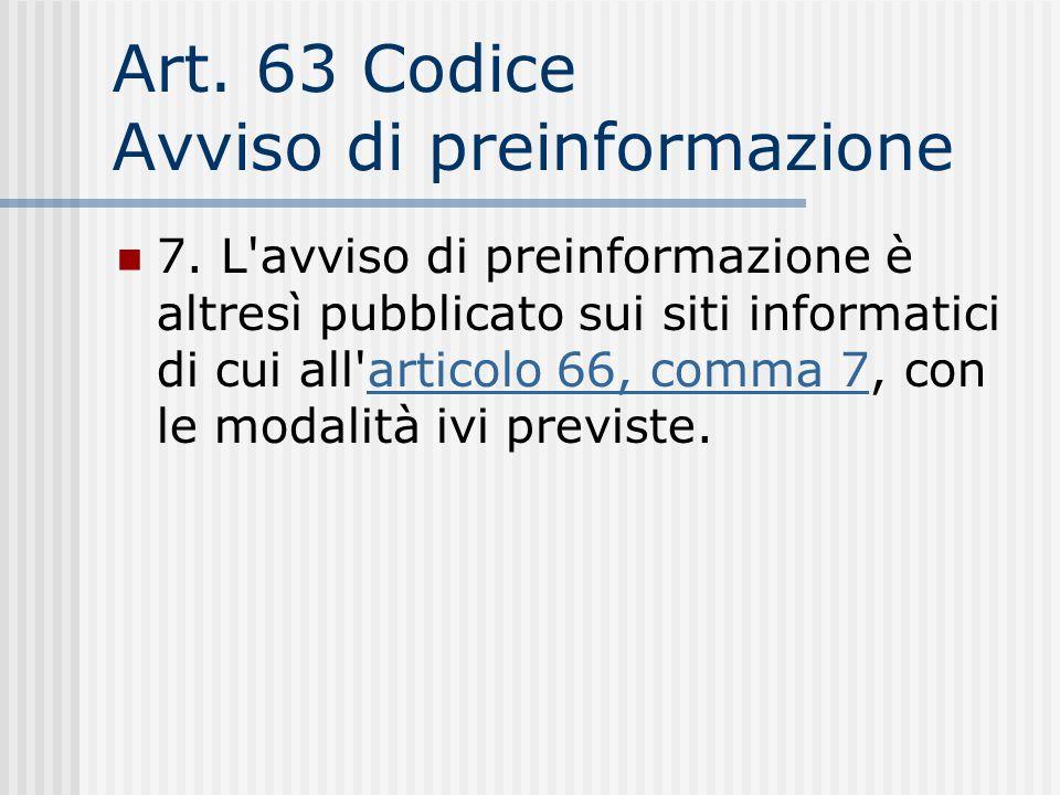 Art. 63 Codice Avviso di preinformazione