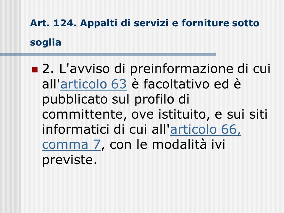 Art. 124. Appalti di servizi e forniture sotto soglia