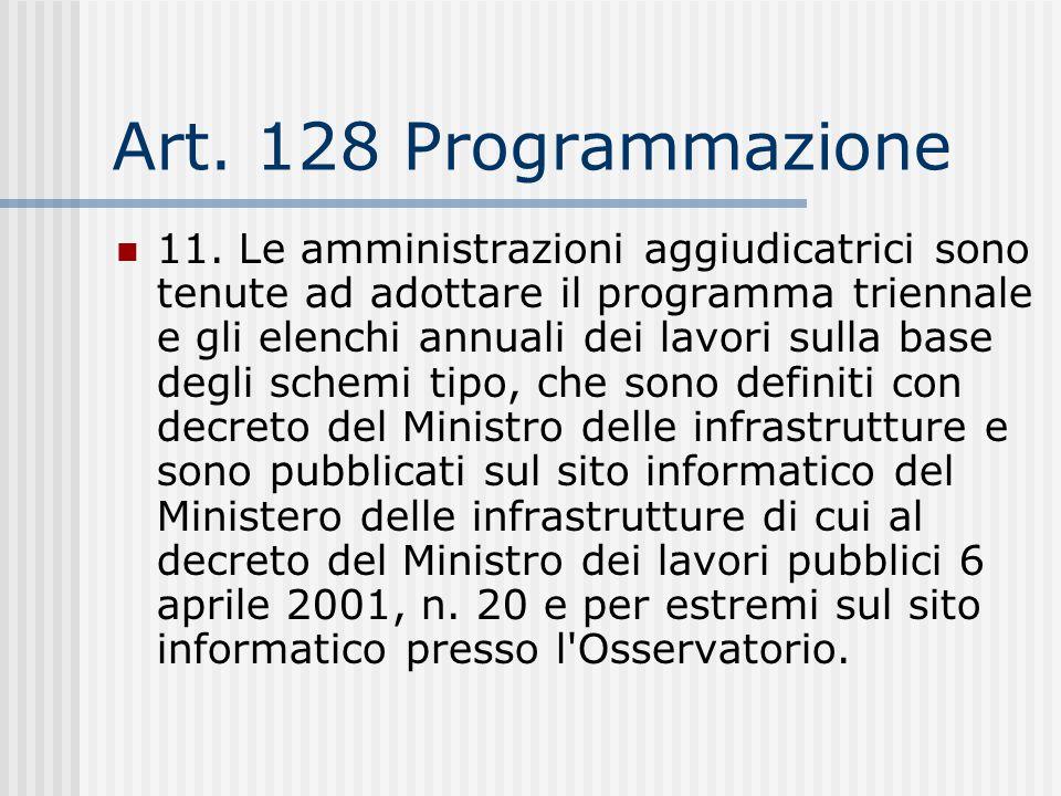 Art. 128 Programmazione