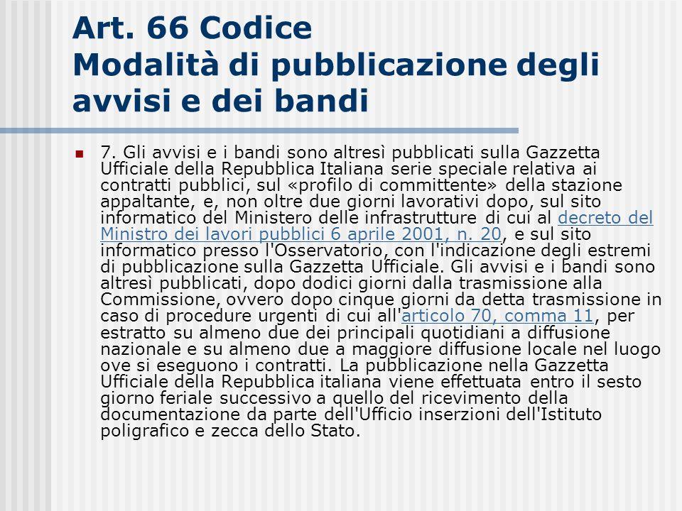 Art. 66 Codice Modalità di pubblicazione degli avvisi e dei bandi
