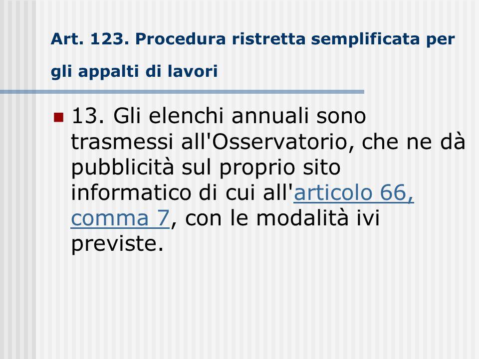 Art. 123. Procedura ristretta semplificata per gli appalti di lavori