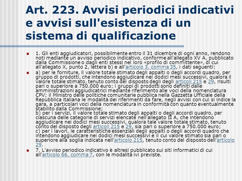 Art. 223. Avvisi periodici indicativi e avvisi sull esistenza di un sistema di qualificazione