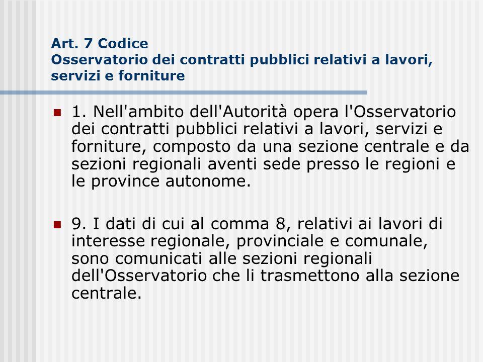 Art. 7 Codice Osservatorio dei contratti pubblici relativi a lavori, servizi e forniture