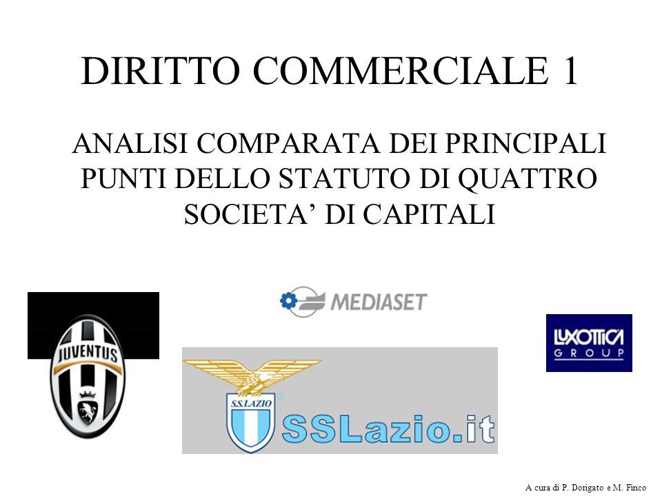 DIRITTO COMMERCIALE 1 ANALISI COMPARATA DEI PRINCIPALI PUNTI DELLO STATUTO DI QUATTRO SOCIETA' DI CAPITALI.