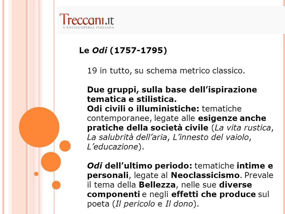 Le Odi (1757-1795) 19 in tutto, su schema metrico classico. Due gruppi, sulla base dell'ispirazione tematica e stilistica.