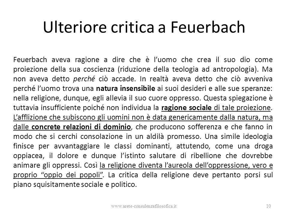 Ulteriore critica a Feuerbach