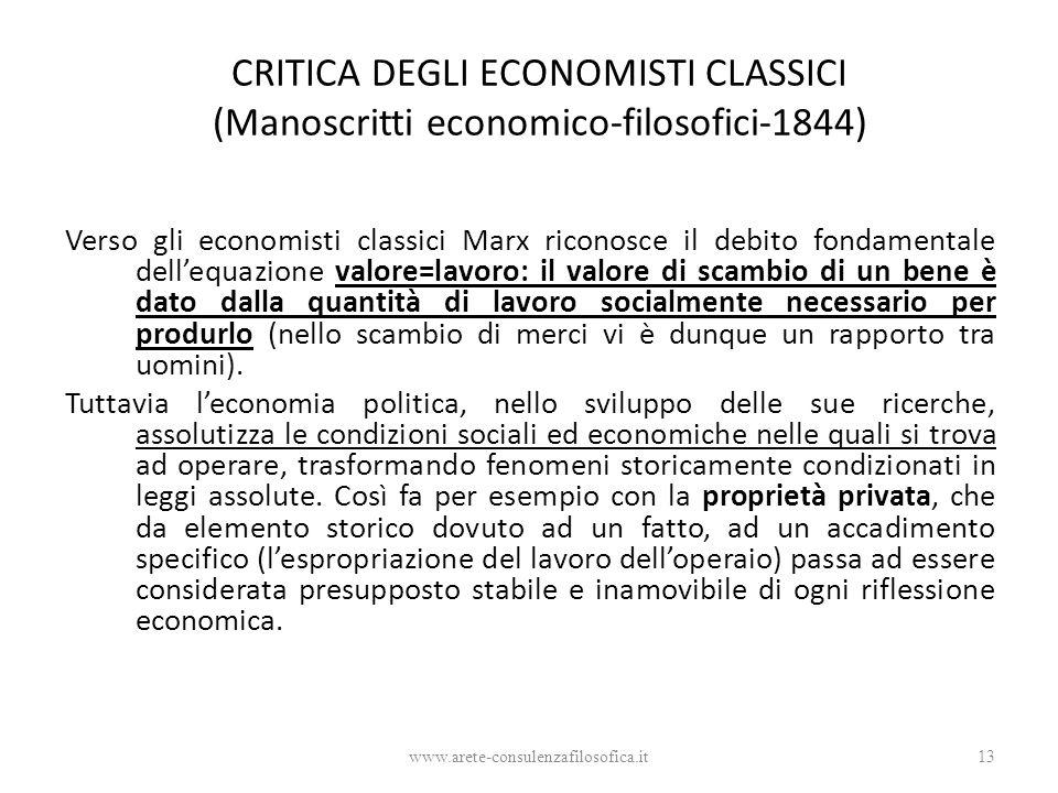 CRITICA DEGLI ECONOMISTI CLASSICI (Manoscritti economico-filosofici-1844)