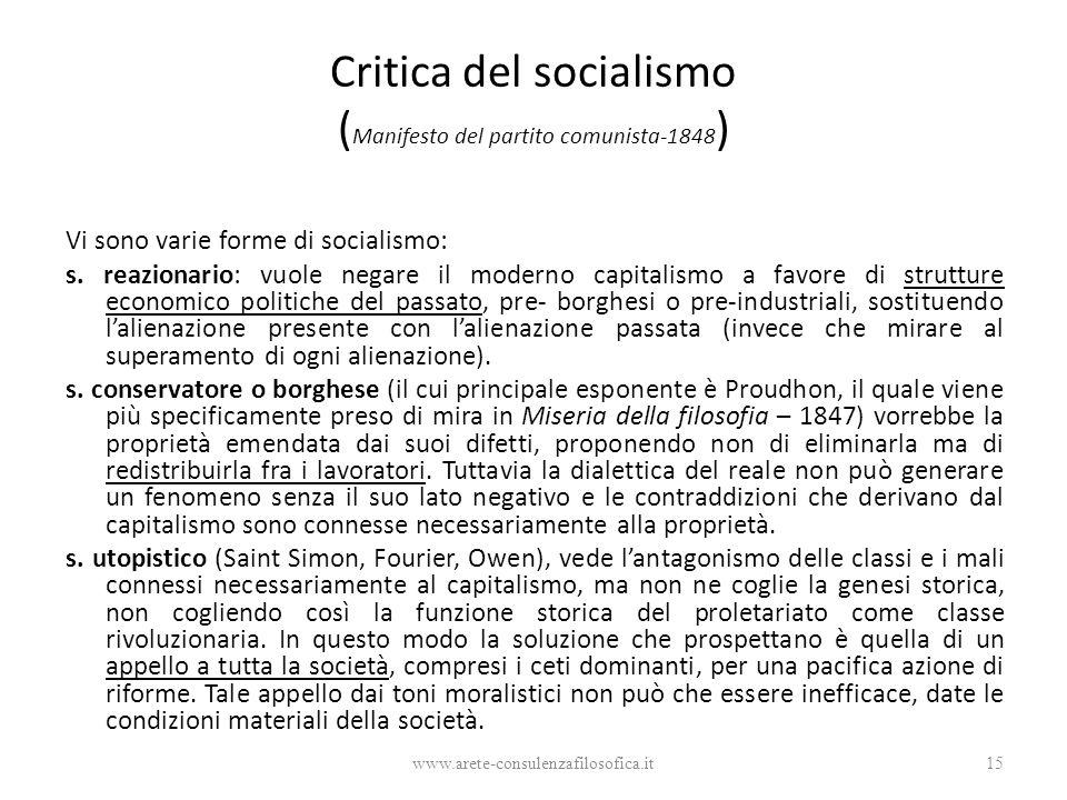 Critica del socialismo (Manifesto del partito comunista-1848)