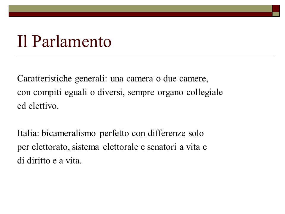 Il Parlamento Caratteristiche generali: una camera o due camere,