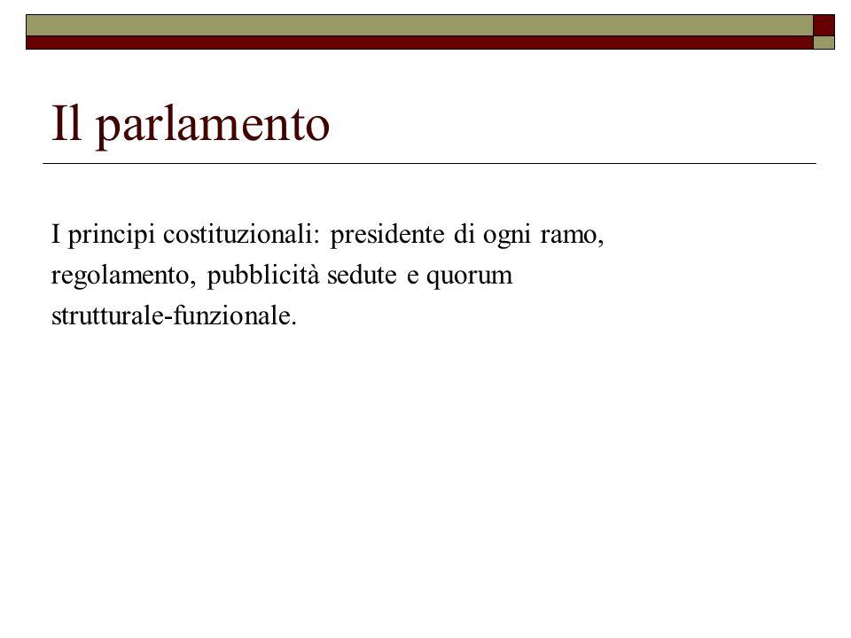 Il parlamento I principi costituzionali: presidente di ogni ramo,