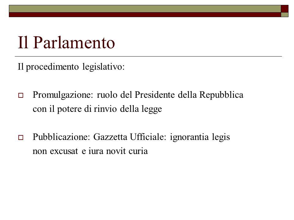 Il Parlamento Il procedimento legislativo: