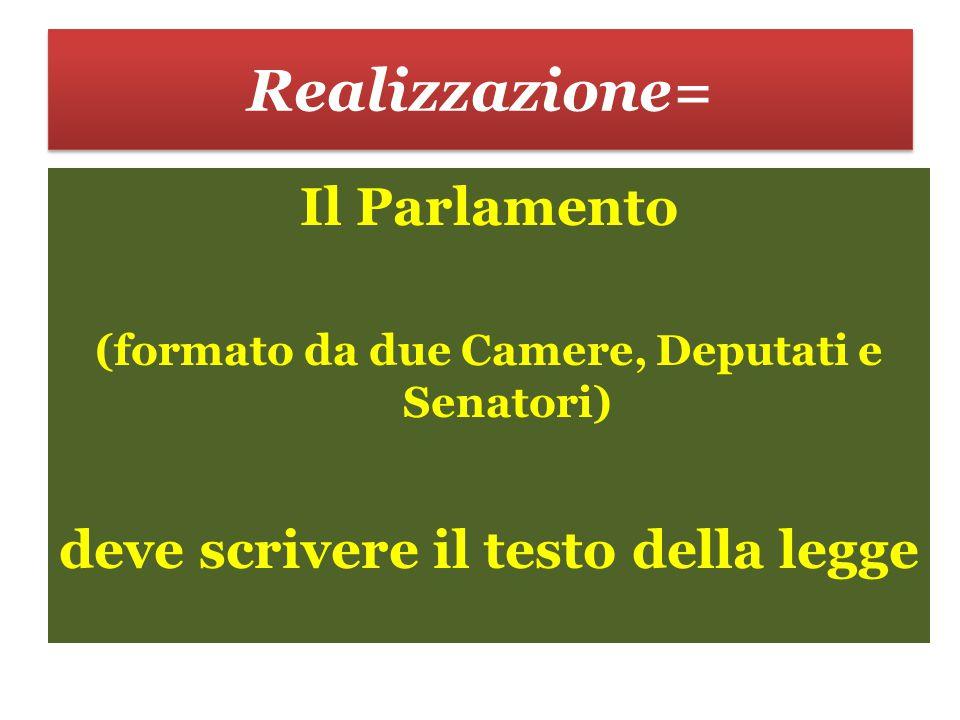 Realizzazione= Il Parlamento deve scrivere il testo della legge