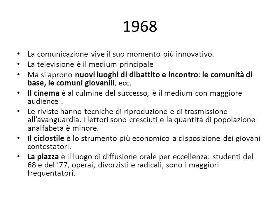 1968 La comunicazione vive il suo momento più innovativo.