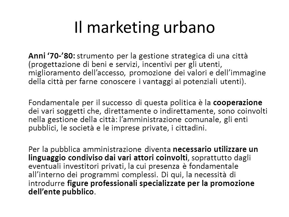 Il marketing urbano