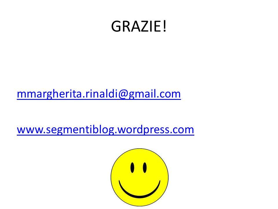 GRAZIE! mmargherita.rinaldi@gmail.com www.segmentiblog.wordpress.com