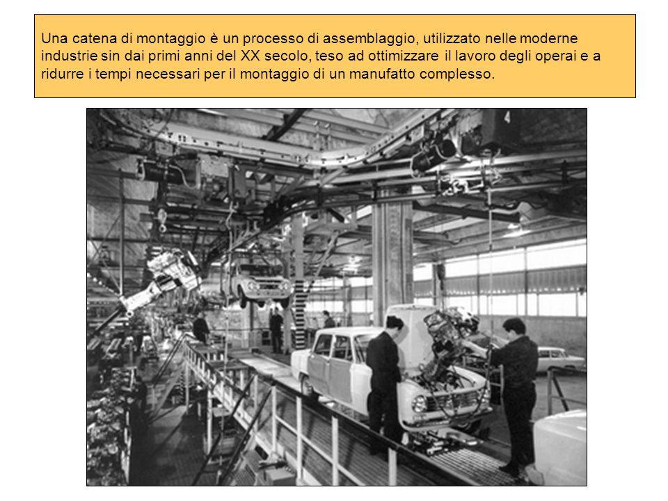 Una catena di montaggio è un processo di assemblaggio, utilizzato nelle moderne industrie sin dai primi anni del XX secolo, teso ad ottimizzare il lavoro degli operai e a ridurre i tempi necessari per il montaggio di un manufatto complesso.