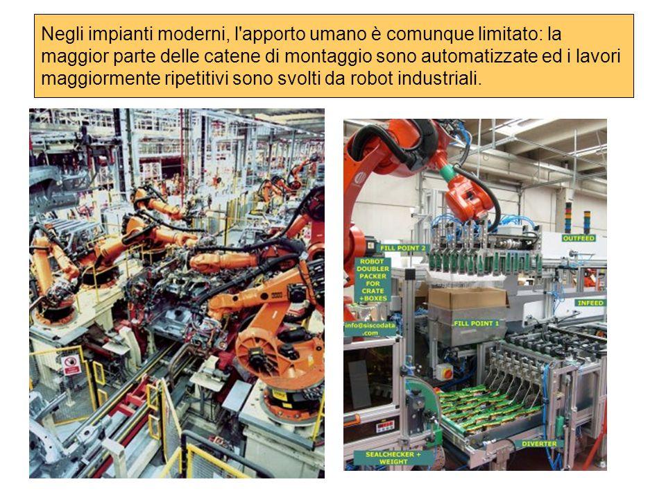 Negli impianti moderni, l apporto umano è comunque limitato: la maggior parte delle catene di montaggio sono automatizzate ed i lavori maggiormente ripetitivi sono svolti da robot industriali.