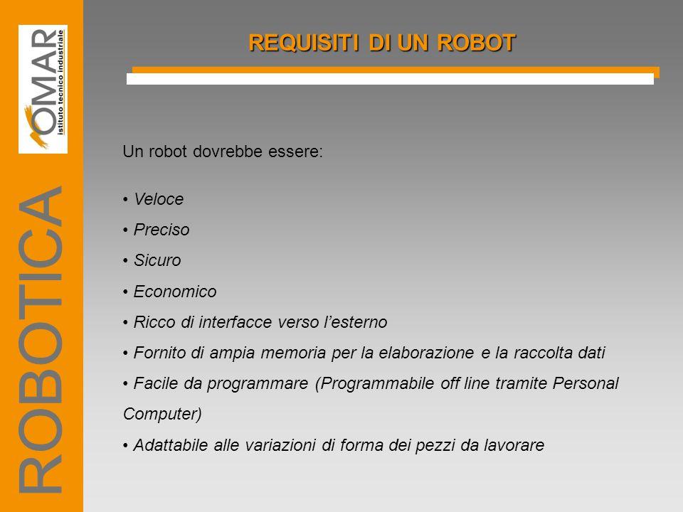 ROBOTICA REQUISITI DI UN ROBOT Un robot dovrebbe essere: • Veloce
