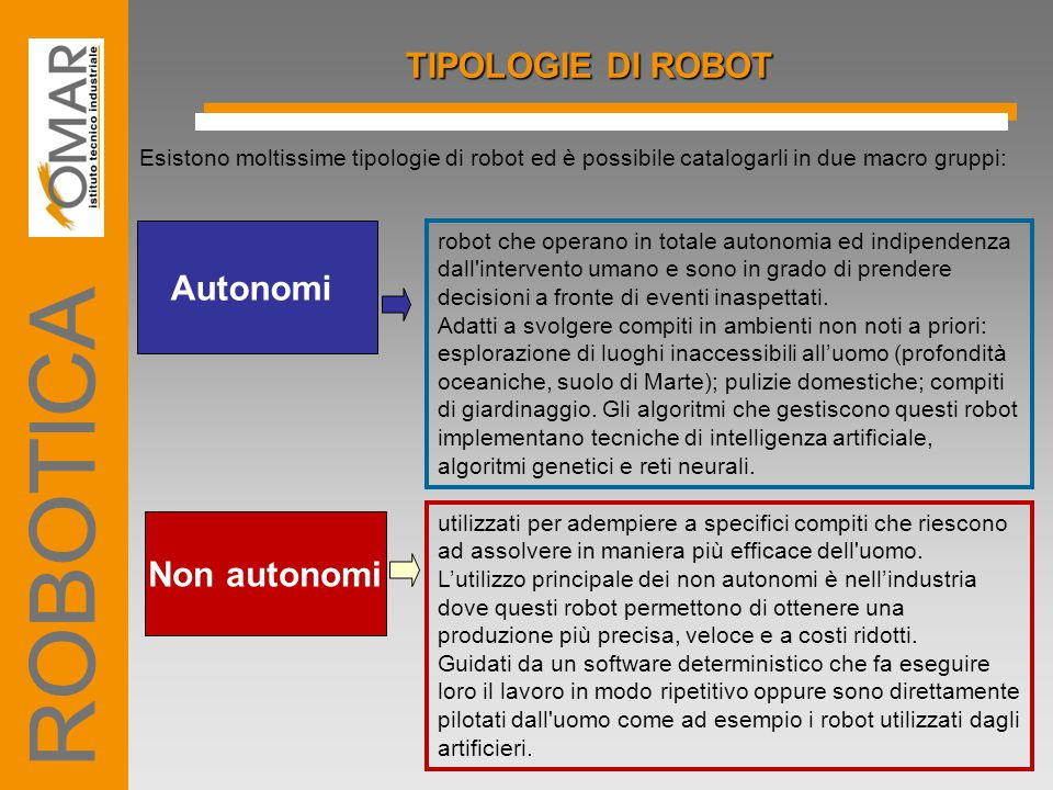 ROBOTICA TIPOLOGIE DI ROBOT Autonomi Non autonomi