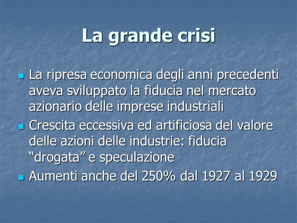La grande crisi La ripresa economica degli anni precedenti aveva sviluppato la fiducia nel mercato azionario delle imprese industriali.