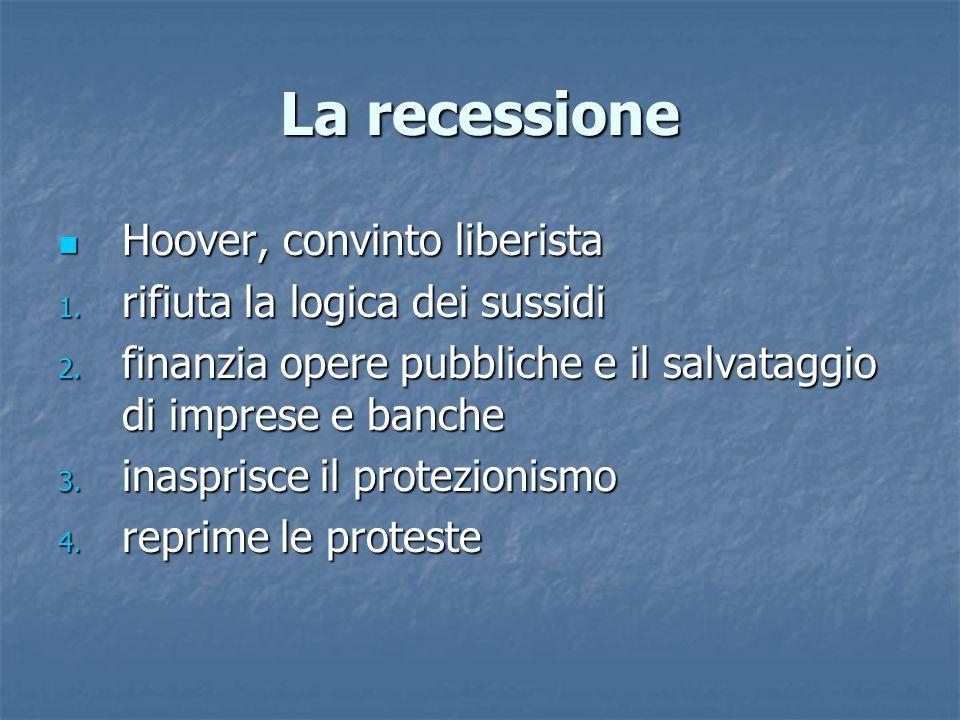 La recessione Hoover, convinto liberista rifiuta la logica dei sussidi