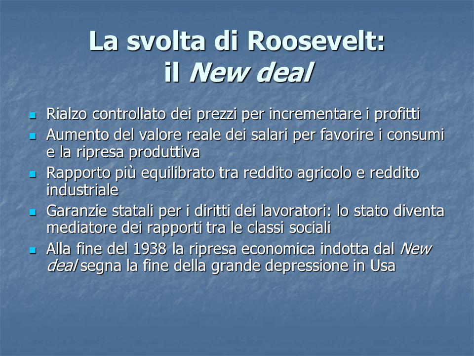 La svolta di Roosevelt: il New deal