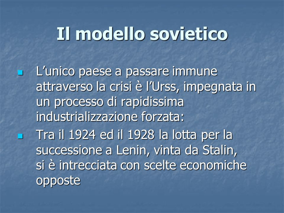 Il modello sovietico