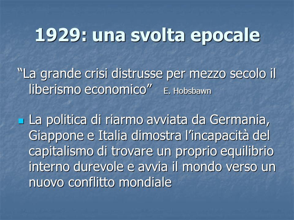 1929: una svolta epocale La grande crisi distrusse per mezzo secolo il liberismo economico E. Hobsbawn.