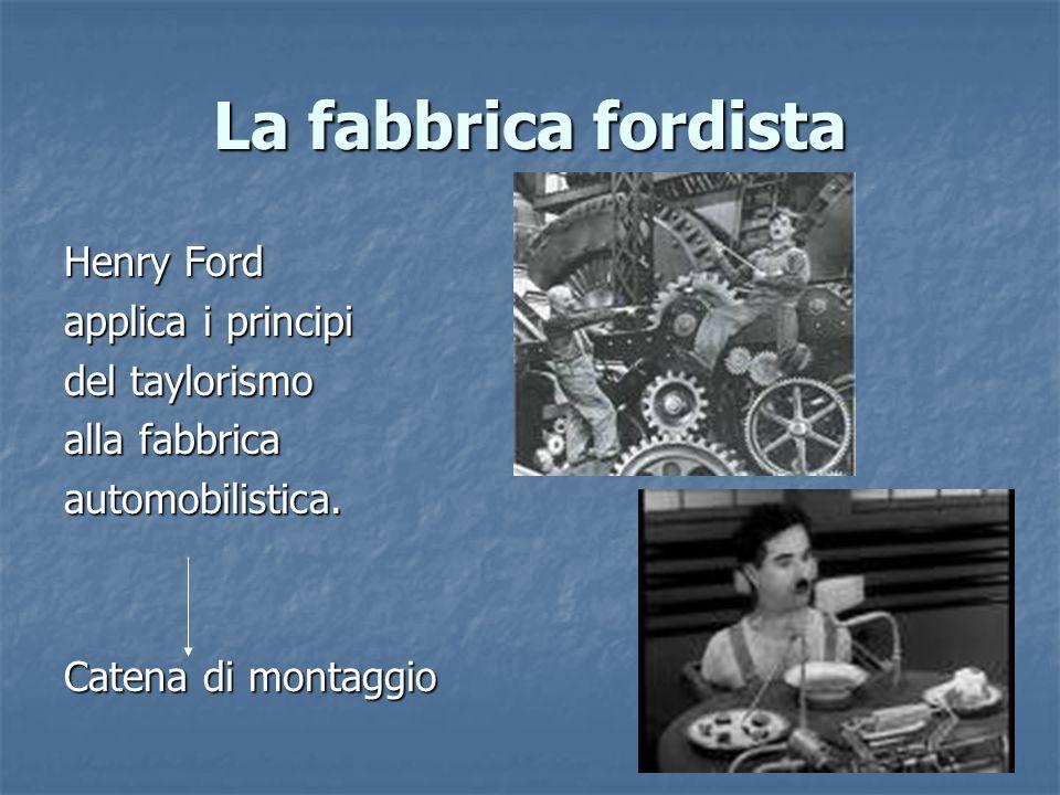 La fabbrica fordista Henry Ford applica i principi del taylorismo