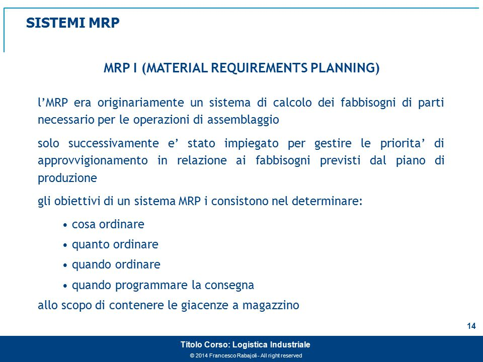 MRP I (MATERIAL REQUIREMENTS PLANNING)