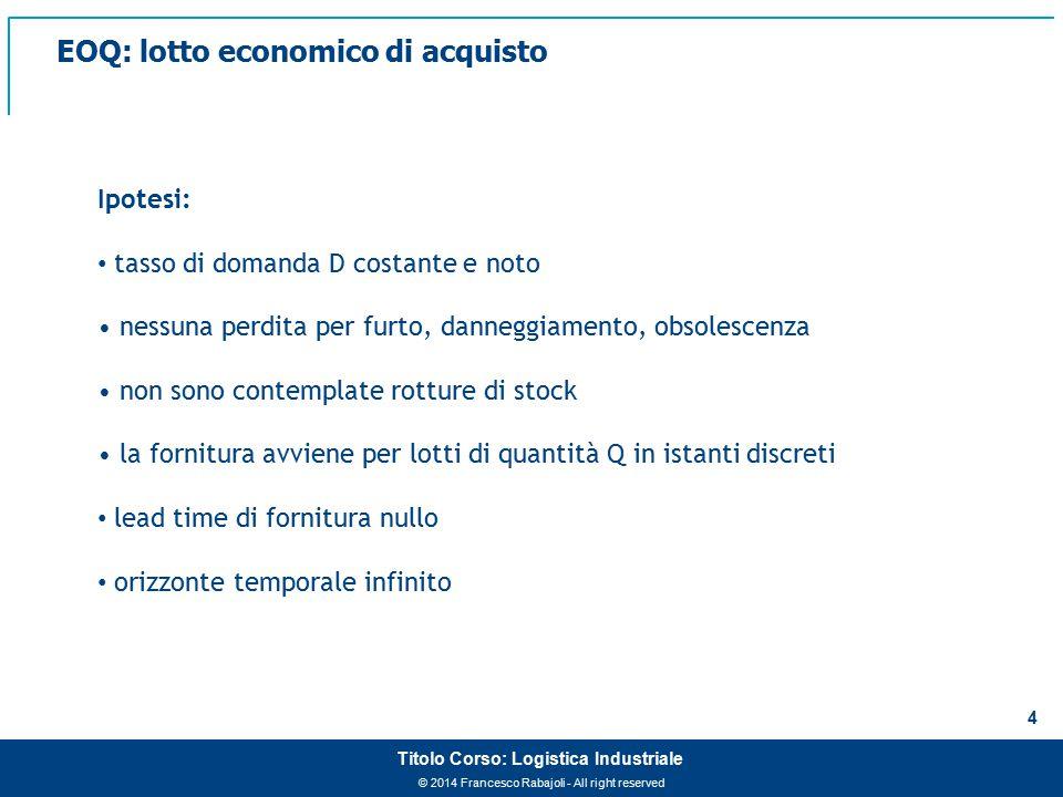 EOQ: lotto economico di acquisto
