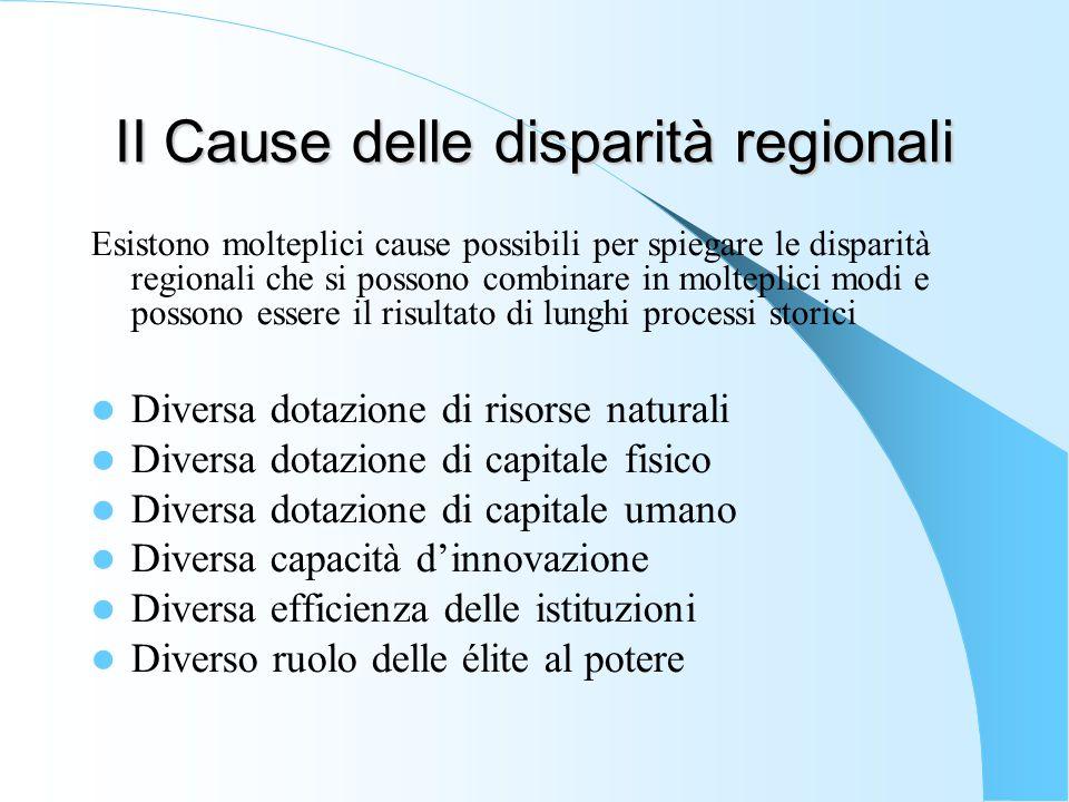 II Cause delle disparità regionali