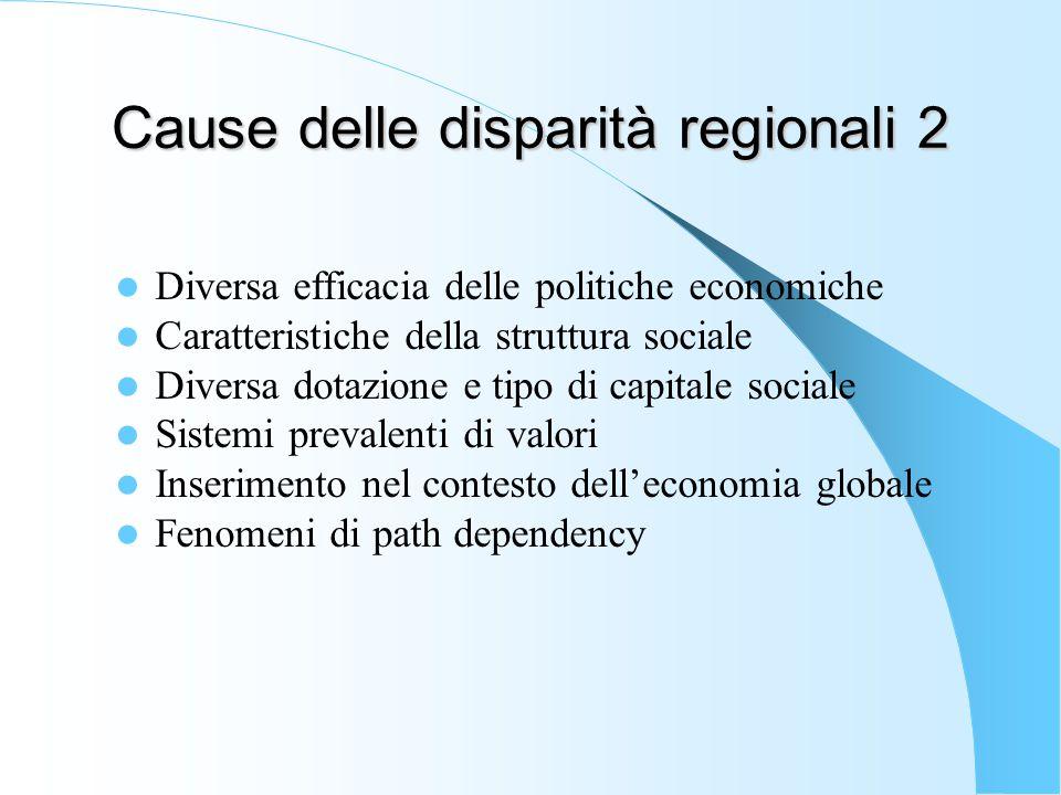 Cause delle disparità regionali 2