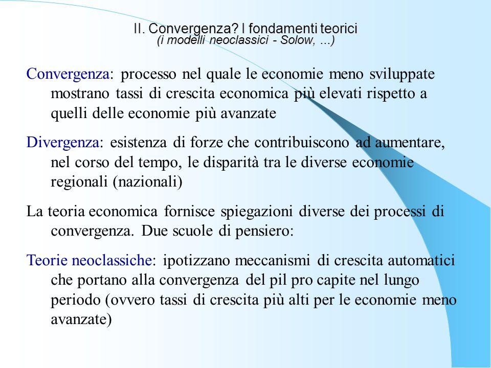 II. Convergenza. I fondamenti teorici (i modelli neoclassici - Solow,