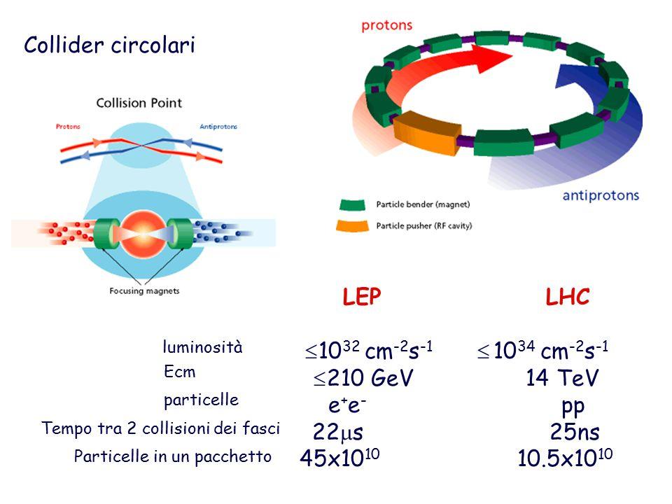 Collider circolari LEP LHC 1032 cm-2s-1  1034 cm-2s-1 210 GeV 14 TeV